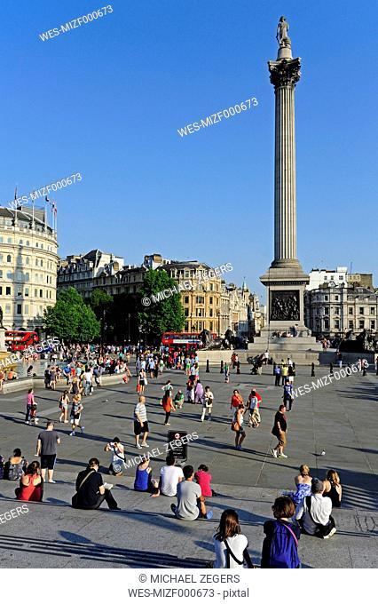 UK, London, Trafalgar Square with Nelson's Column