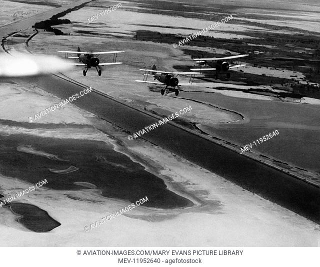 Uk Royal-Airforce Gloster Gladiators flying in formation on Patrol Along the Suez Canal Near Ismalia, Egypt