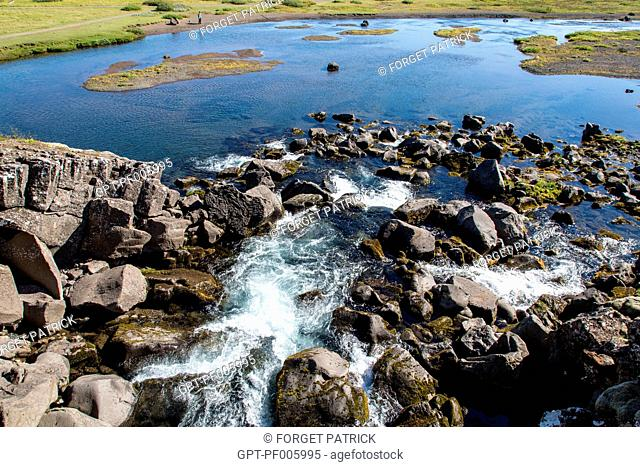 GORGES OF THE ALMANNAGJA, THINGVELLIR NATIONAL PARK, THE SITE OF THE FORMER PARLIAMENT WHERE ICELAND'S INDEPENDENCE WAS PROCLAIMED