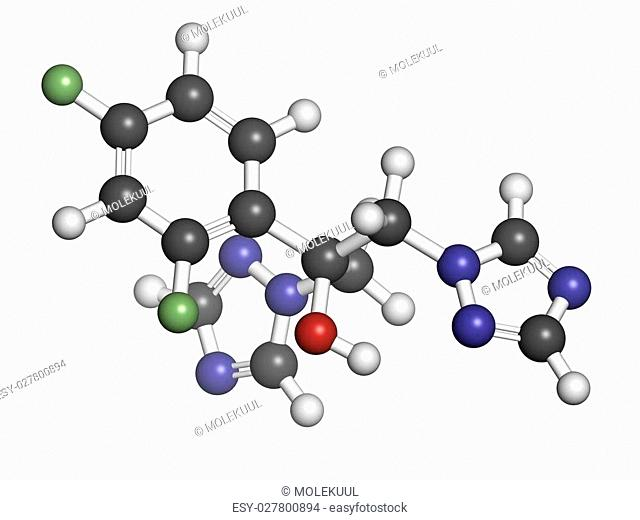 Fluconazole antifungal drug (triazole class), chemical structure. Atoms are represented as spheres with conventional color coding: hydrogen (white)
