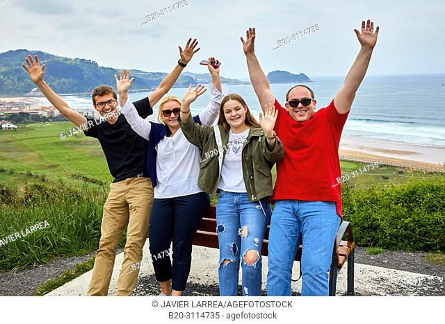 Tour guide with group, Tour along the coast of the Basque Country, Zarautz, Gipuzkoa, Basque Country, Spain, Europe