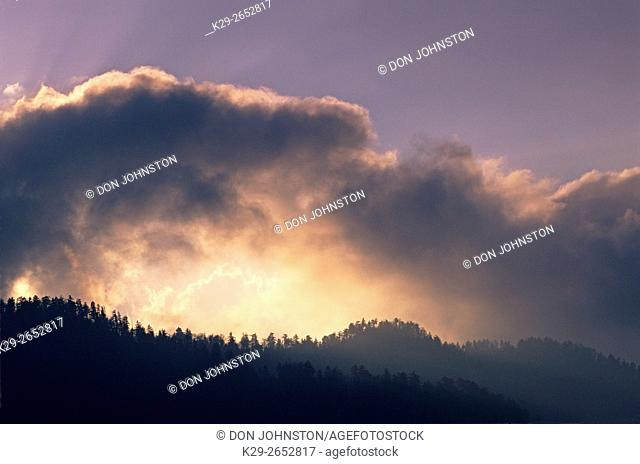 Clouds and sunbeams over Clingmans Dome, Great Smoky Mountains National Park, Tennessee, USA