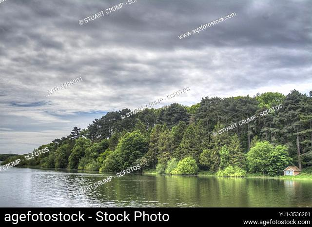 HDR image of Swithland Reservoir and Surrounding Woodland in Leicestershire