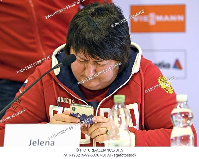 19 February 2019, Austria, Seefeld: Jelena Välbe, President of the Russian Cross Country Ski Federation, attends a press conference of the Russian cross country...