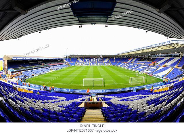 England, West Midlands, Birmingham. Inside St. Andrews Stadium, home of Birmingham City Football Club