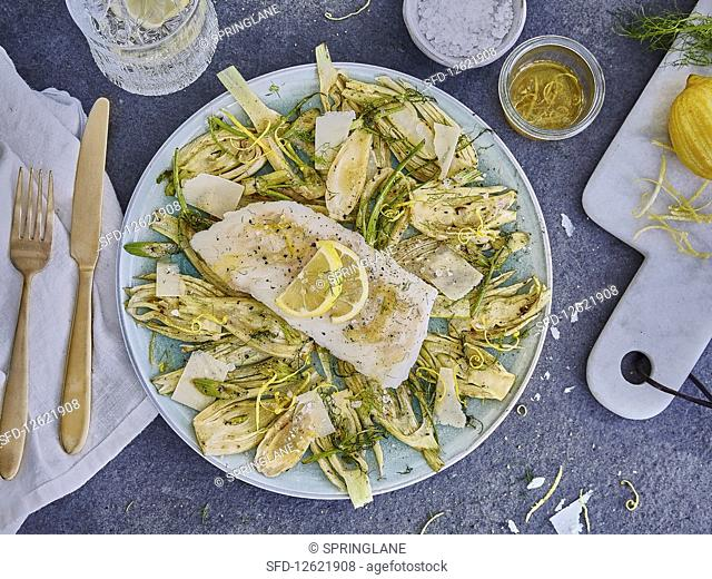 Sous vide cod with roasted fennel and lemon butter