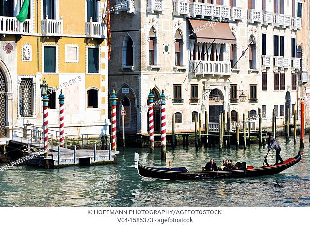 Gondola and Palazzi at the Canale Grande (Grand Canal) in Venice, Italy, Europe