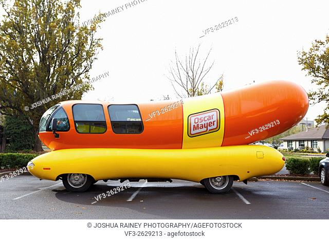 EUGENE, OR - NOVEMBER 12, 2015: Oscar Mayer Wienermobile makes an appearance at the University of Oregon in Eugene