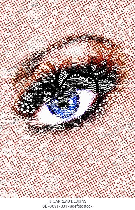 Lace design layered over eye