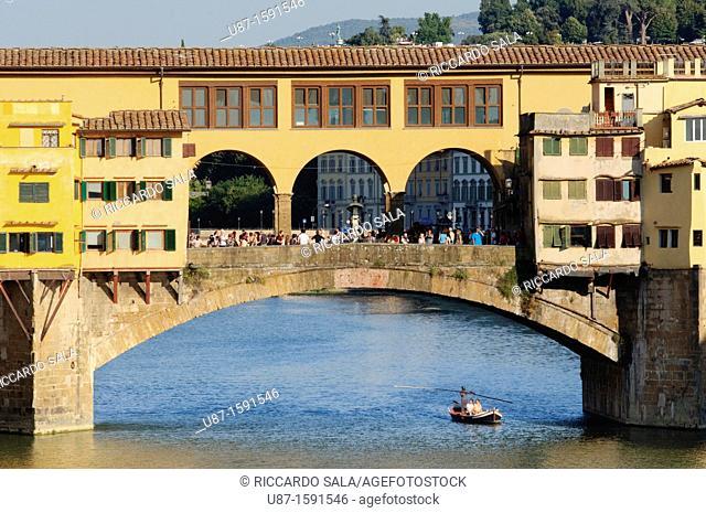 Italy, Tuscany, Florence, Arno River, Ponte Vecchio Bridge, Boat