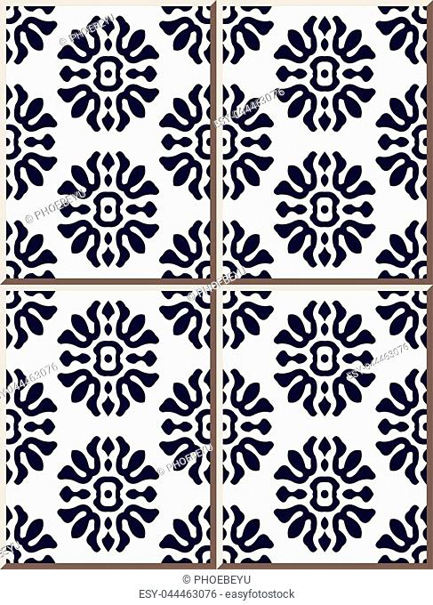 Ceramic tile pattern spiral curve round cross flower, oriental interior floor wall ornament elegant stylish design