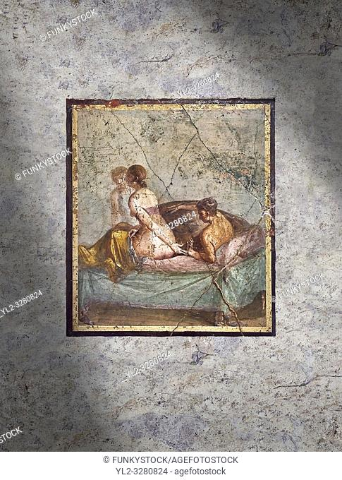 A Roman erotic fresco painting from Pompeii, Naples National Archaeological Museum , form the venereum, a room for sexual activities