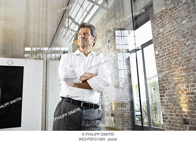 Portrait of mature businessman leaning against glass pane in modern office