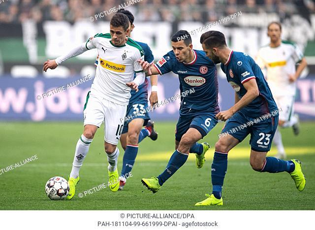 04 November 2018, North Rhine-Westphalia, Mönchengladbach: Soccer: Bundesliga, Borussia Mönchengladbach - Fortuna Düsseldorf, 10th matchday in Borussia-Park