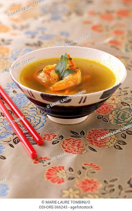 Sweet-and-sour shrimp soup