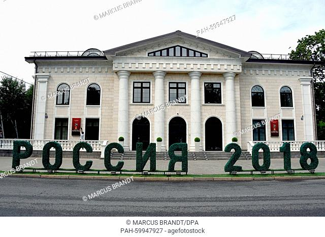 A hedgerow in the shape of the date '2018' stands in front of the office of the Local Organising Committee (LOC) for the 2018 FIFA soccer world cup in Russia...