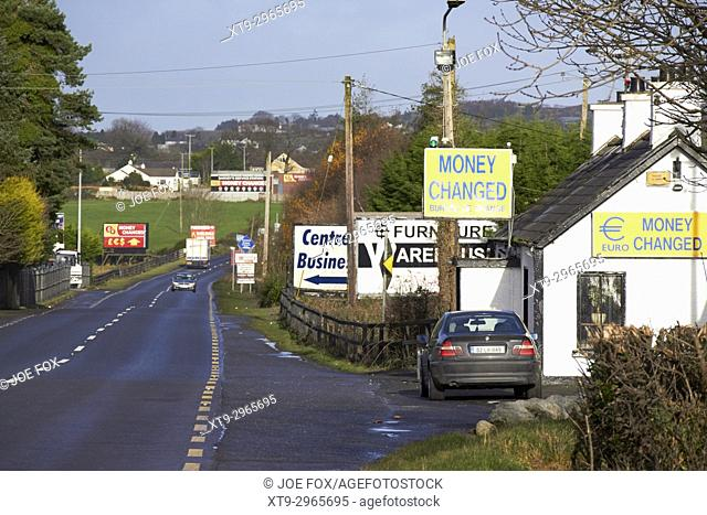 Money change bureau de change near the irish border between Northern Ireland and Republic of Ireland soon to be the UK EU land border post Brexit