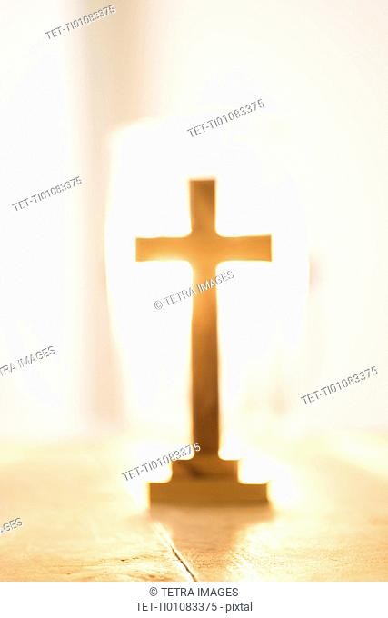 View of backlit cross