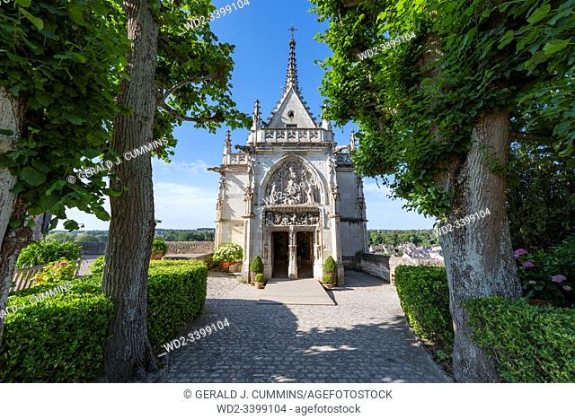 France, The Collegiate Church of Saint Florentin : 2019-07, An historic monument in the Loire Valley and resting place of the artist Leonard de Vinci and is now...