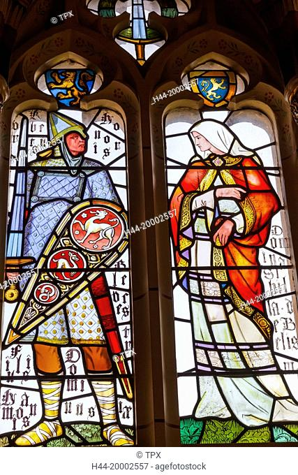 Wales, Cardiff, Cardiff Castle, Stained Glass Window depicting a Knight and a Lady