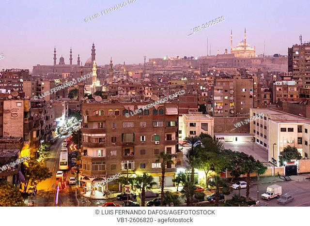 Islamic Cairo overview at dusk with citadel in background, Cairo, Egypt