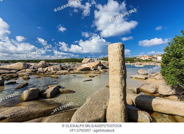 Rocks shaped by wind frame the turquoise sea Capo Testa Santa Teresa di Gallura Province of Sassari Sardinia Italy Europe