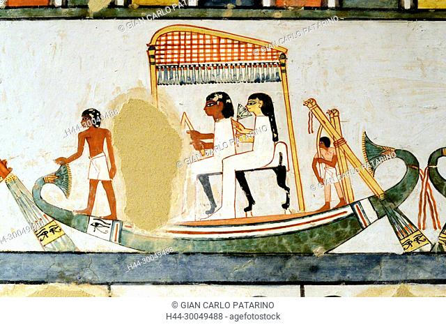 Luxor, Egypt, tomb of Menna or Menena (TT69) in the Nobles Tombs (Sheikh Abd El-Qurna necropolis): beautiful scenes of life on the Nile river
