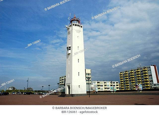 Lighthouse on the waterside, Noordwijk, South Holland, Holland, The Netherlands
