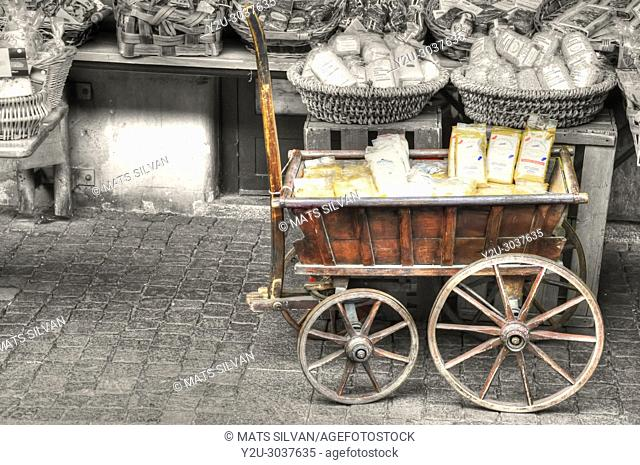 Old Wooden Cart with Food in Ascona, Switzerland