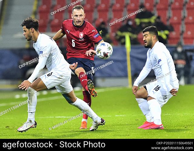 L-R Sun Menachem (ISR), Vladimir Coufal (CZE) and Mohammad Abu Fani (ISR) in action during the Group B2 match of the UEFA Nations League