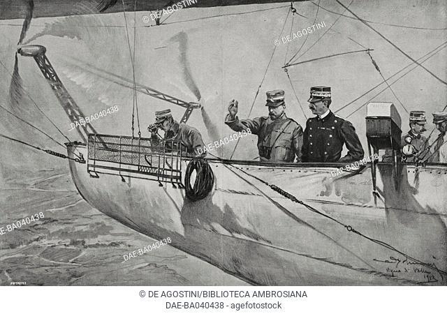Commander Scelsi and Vittorio Emanuele III on the P4 airship, flying in Anguillara, Trevignano and Bracciano, June 4, 1913, Italy, drawing by Aldo Molinari