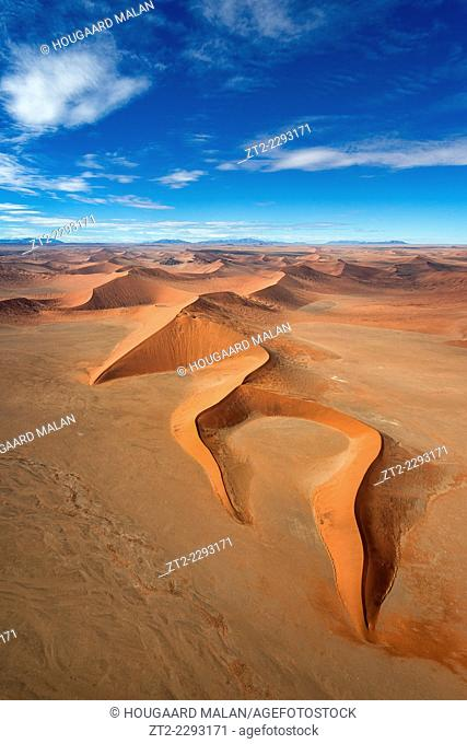 Wide angle aerial photo of the dunes of Sossusvlei. Namib Naukluft National Park, Namibia