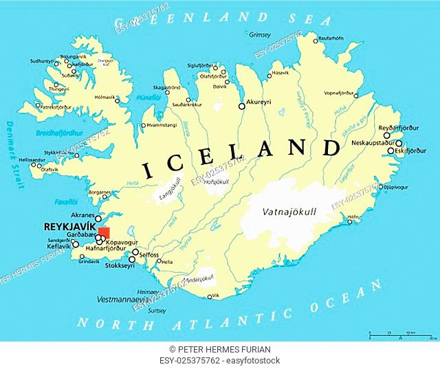 Iceland Political Map with capital Reykjavik, national borders, important cities, rivers, lakes and glaciers. English labeling and scaling