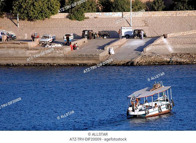 EMPTY PASSENGER FERRY; RIVER NILE, EGYPT; 09/01/2013