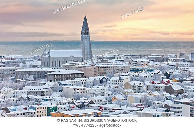 Winter snowfall with Hallgrimskirkja church, Reykjavik, Iceland