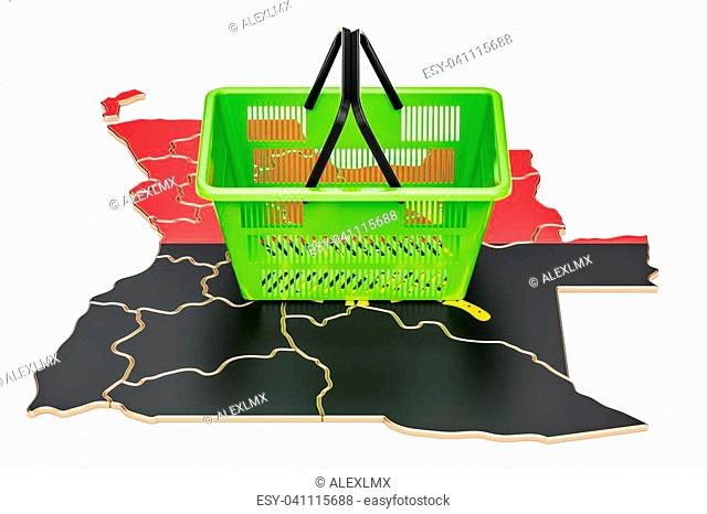 Shopping basket on Angola map, market basket or purchasing power concept. 3D rendering
