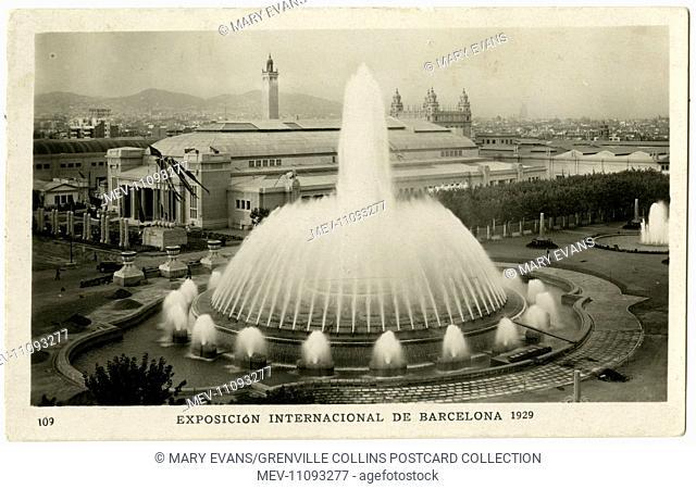 Barcelona, Spain - The Magic Fountain of Montjuic at the International Exhibition (Exposicion Internacional de Barcelona) - located in the Plaza de Carles...