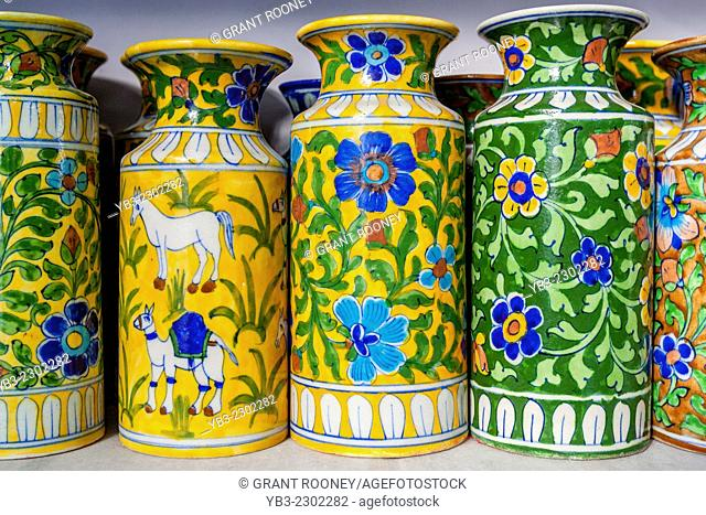 Locally Made Blue Pottery For Sale, Jaipur, Rajasthan, India
