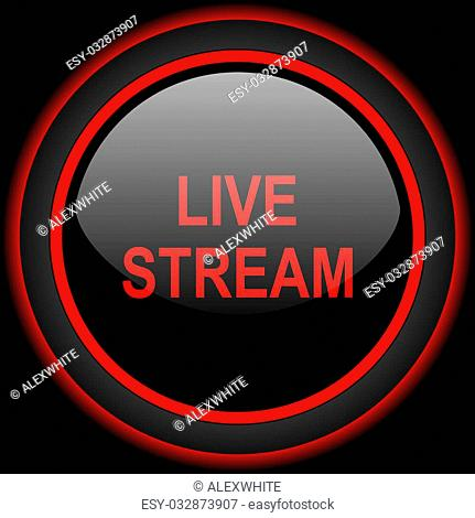 live stream black and red glossy internet icon on black background