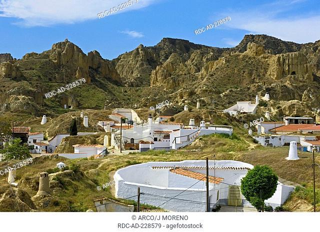 Cave dwellings, Santiago troglodyte quarter, Guadix, Granada province, Andalusia, Spain