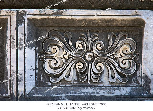 Detail of Panels of carved relief at the base of columns in The Apollo Temple of Didyma (Didymaion) 10th C. BC-4th C. BC