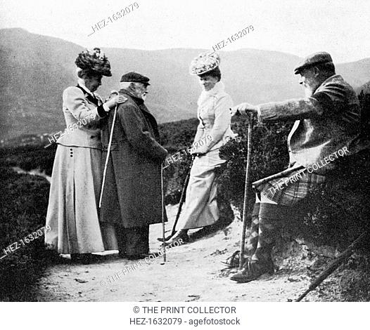 King Edward VII (1841-1910), Princess Mary, Lady Katherine Coke and Captain Welsh, 1908. A print from Queen Alexandra's Christmas Gift Book