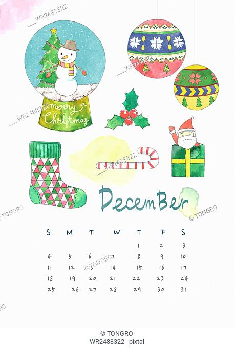 Calendar background for December with watercolor Christmas decorations