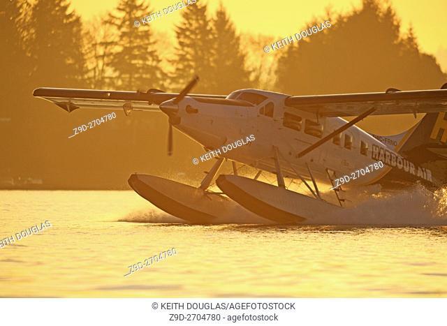 Turbine Single Otter floatplane landing in Nanaimo harbour, Nanaimo, Vancouver Island, British Columbia