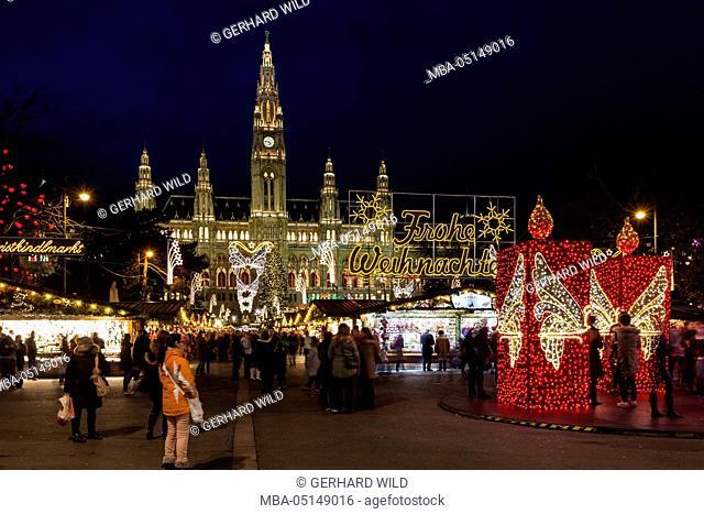 Austria, Vienna, city hall square, Christmas market