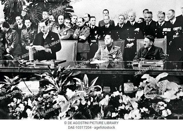The Japanese ambassador Saburo Kurusu, Galeazzo Ciano and Adolf Hitler during the conference for signing the Tripartite Pact, September 27, 1940