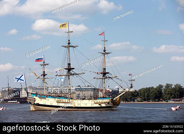 Russia, St.Peterburg. July 26, 2019. Beautiful Russian ship on the Neva river in St. Petersburg