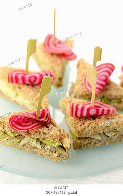 Potted duck,beetroot and green apple mini sandwiches