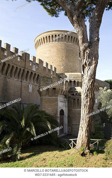 castle and tower in the village of Ostia Antica, near Rome, Italy