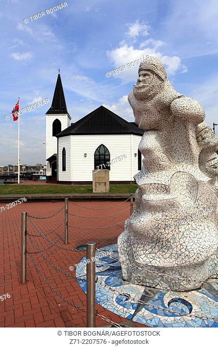 UK, Wales, Cardiff, Bay, Norvegian Church, Antarctic 100 Memorial,